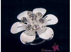 Wkrętka do włosów okazały lustrzany kwiatek srebrny