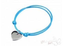 Bransoletka na sznureczku srebrne serduszko niebieska jasna