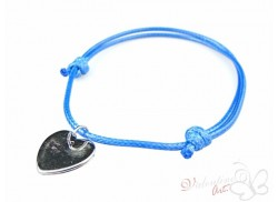 Bransoletka na sznureczku srebrne serduszko niebieska ciemniejsza