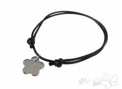 Bransoletka na sznureczku srebrny kwiatek czarna
