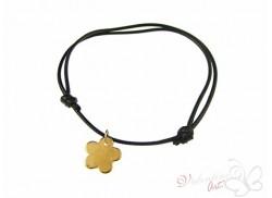 Bransoletka na sznureczku złoty kwiatek czarna