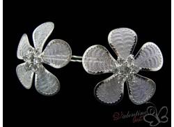 Okazały srebrny kwiat 5 dużych płatków