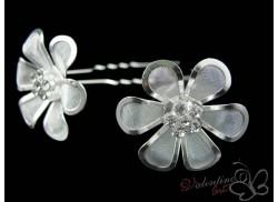 Kwiatek klasyczny sześć płatków srebrny