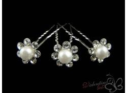 Szpilka srebrzona perełka z dżetami