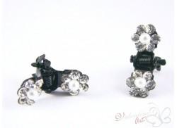 Delikatna czarna żabka do włosów z cyrkoniami crystal