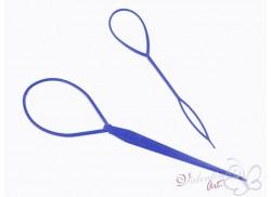 """Zestaw dwóch szpil """"lasso"""" do przekładania pasm włosów niebieskie"""