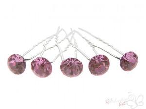 Szpilka do włosów z cyrkonią kolor różowy