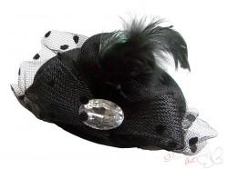 Spinka kapelusz XL z dużym owalnym dzetem czarny