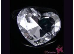 Gumka serce kryształowe białe