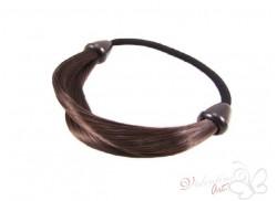 Gumka z pasmem włosów ciemny brąz