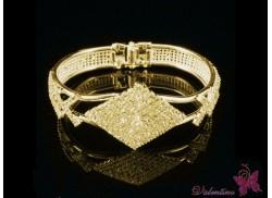 Bransoletka z cyrkoniami romb złota