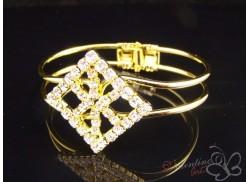 Bransoletka z cyrkoniami kwadrat ażurowy złota