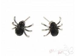 """Wkręty """"pająk"""" srebrny z cyrkonią czarne"""