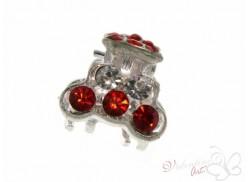 Srebrna żabka do wlosów z cyrkoniami 02 czerwona