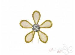 Kwiatek ślubny z dżetem złoty