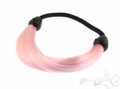 Gumka z pasmem włosów jasno różowa