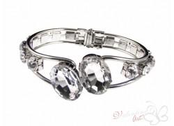 Bransoletka z trzema kryształkami białe owale