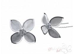Okazały srebrny kwiat 4 płatki